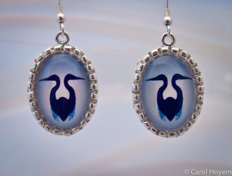 Blue Heron photo jewelry earrings
