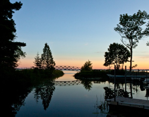 Sunset at boat landing at Lake Bemidji State Park